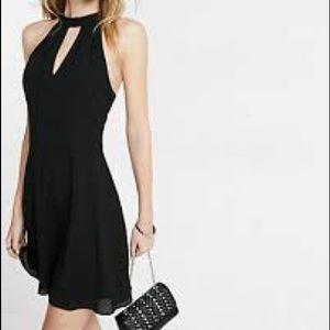 Express Dresses - Mock neck keyhole fit and flare dress